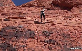 Thin Mountaineer MUMMY Deep-Throats Her Paramour's Weenie Outdoors